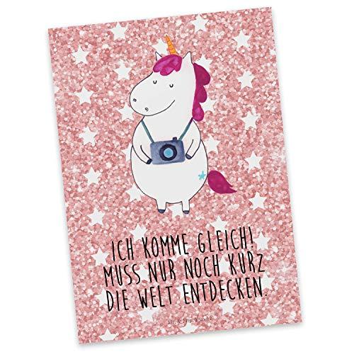 Mr. & Mrs. Panda Karte, Grußkarte, Postkarte Einhorn Fotograf mit Spruch - Farbe Glitzer Rosa