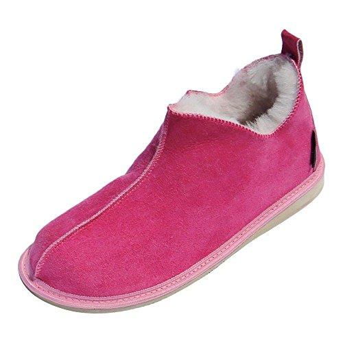 Hollert Leather Lammfell Hausschuhe Cinderella Fellschuhe Premium Damenschuhe aus 100% Merino Schaffell Größe EUR 40, Farbe Pink