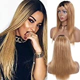 S-noilite Ombre Peluca de cabello sin encaje frontal para todas las mujeres brasileño virgen cabello humano peluca natural recta ondulada con resaltado 1B/T27 negro café marrón