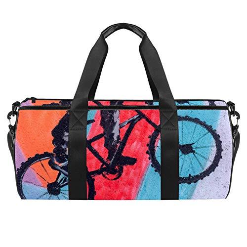 Z&Q Bolsa de Lona para niños Bicicleta de Pintura de Pared Tamaño de Mano Deportes al Aire Libre, práctica atlética o Viajes nocturnos de Fin de Semana 45x23x23cm