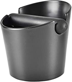 Espresso Grinds Waste Container Coffee Knock Box Anti-slip Espresso Dump Bin for Home Cafe Open Mouthed Black