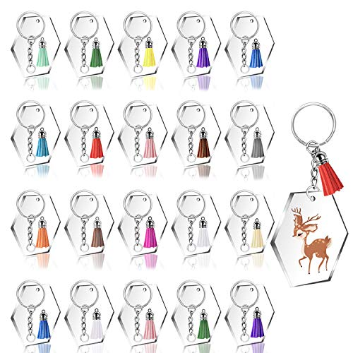 120pcs Acrylic Keychain Blanks with Tassels Kit Bulk, Includes 30pcs Acrylic Clear Hexagon Disc(2 Inch), 30pcs Key Rings, 30pcs Jump Rings Chains and 30pcs Tassels for DIY Keychain Crafting