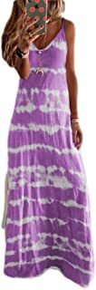 MU2M Women's V-Neck Casual Spaghetti Strap Tie Dye Print Plus Size Long Maxi Dress