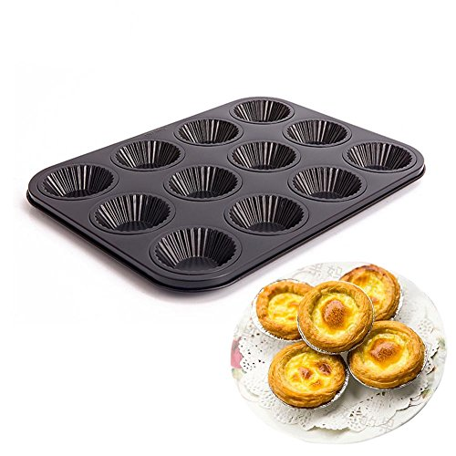 Mini Fluted Tart Pan Little Tartlette Pie Pans Non-Stick 12-Well by LUFEIYA