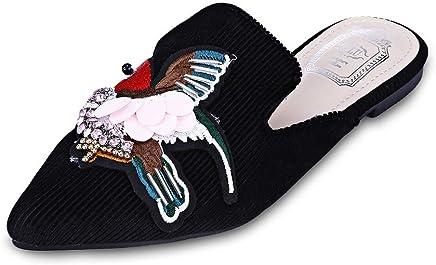 KCatsy Trendy Pointed Toe Bird Embroidery Rhinestone Flat Heel Women Slippers