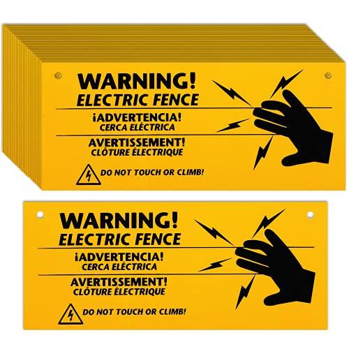 Blulu Elektrozaun Warnschilder 25,4 x 10,2 cm Kunststoff Elektrozaun Safe Schilder Warnschild für Gefahr Elektrozaun Schild Farm Home (24)