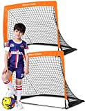 Dimples Excel Soccer Goal Pop up Soccer Goal Backyard for Kids Mini Soccer Goal Portable Foldable Football Goal Net Garden Indoor Outdoor, 2 Set