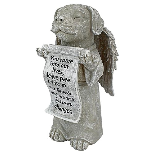 Design Toscano QL59384 Paw Prints on Our Hearts Memorial Dog Statue