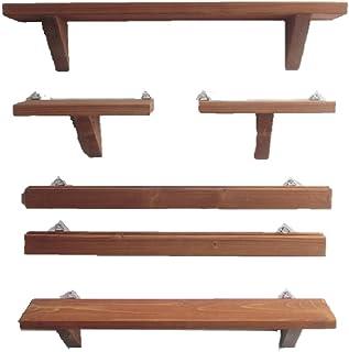3種のウォールシェルフ6点セット (チーク) 飾り棚 壁掛け 木製 壁 棚 DIY 石膏ボード おしゃれ アンティーク ハンドメイド (チーク)