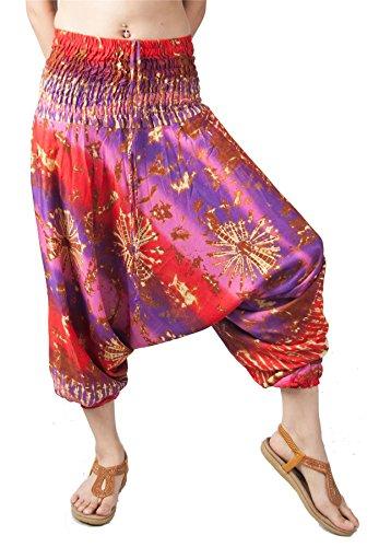 Lofbaz Damen Tie Dye gedruckt Flowy Harem Hosen Rosa & Violett M