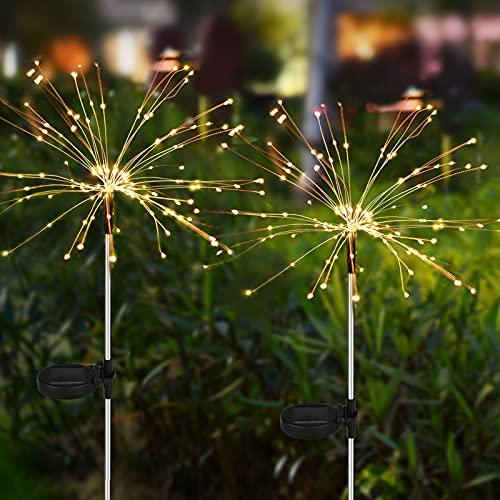 Paquete de 2 Luces Solares para Exteriores, luces de fuegos artificiales para jardín, luces LED solares en forma de Estrella, Impermeables, 2 Modos para patio, decoración de caminos (blanco cálido)