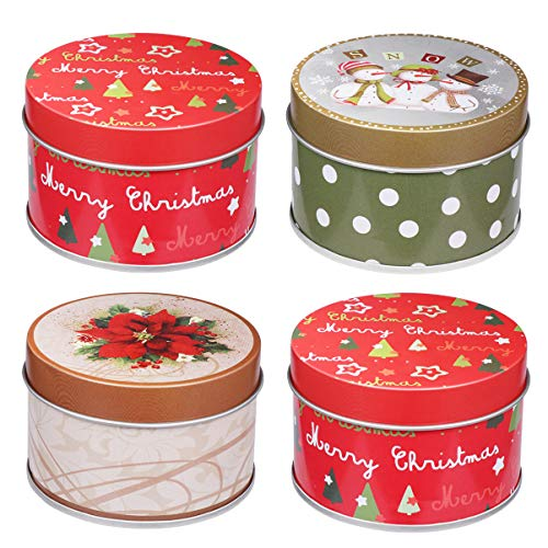 UPKOCH 4pcs Christmas Tin Gift Box Round Cookie Candy Storage Containers Tin Holders Box Set with Lids 3x3x2 Inch Random Pattern