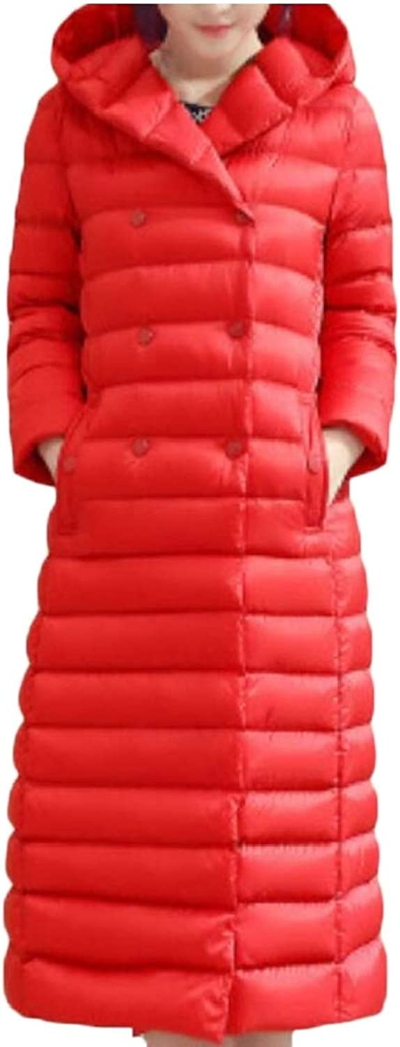 Desolateness Women's Lightweight DoubleBreasted Hooded Maxi Down Coat