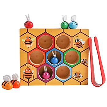 Toddler Fine Motor Skill Toy Clamp Bee to Hive Matching Game Montessori Wooden Bee Hive Toys Matching Game Color Sorting Puzzle Early Learning Preschool Educational Gift for 2 3 4 Years Old Kids