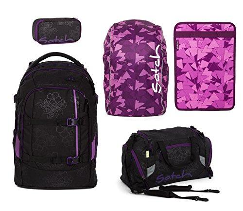 Unbekannt Satch Pack Schulrucksack-Set 5-teilig Rucksack + Sporttasche + Schlamperbox + Regencape & Heftebox Purple - Purple Hibiscus
