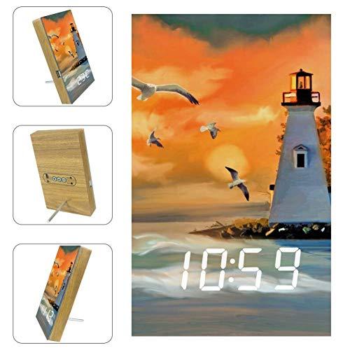 Z&Q Luces-Despertador Infantiles Pintura Al óleo Gaviota Faro Reloj de Mesa con Control por Voz, Hora, Temperatura y Puerto USB 15.8x9.7x2.3 cm