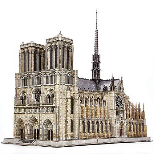 CubicFun Puzzle 3D de Construction France - Notre-Dame de Paris (Grand) Kits de Modèle Architectural de l'église Gothique, Cadeau de modèle pour Adultes, 293 Pièces