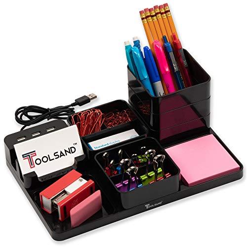 Home Office Desk Organizer Set with 3-Port USB Charging Hub, 82-Piece Binder Clip Set, Pen Holder and Pencil Holder (Black)