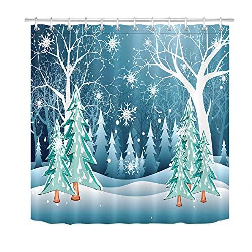 Winter-Schneeflocken-Duschvorhang für BadezimmerForest Pine Tree Duschvorhang-Set mit 12 Haken72x72 Zoll Extra langes Polyestergewebe wasserdicht
