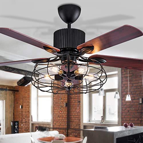 LED Deckenventilator Mit Beleuchtung Pendelleuchte Wohnzimmer Schlafzimmer Deckenleuchte Fernbedienung Loft Lüfter Kronleuchter Retro Esszimmer Elektrische Lüfter Stumm Remote Blatt Fan Lampe Schwarz