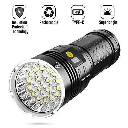Sondiko High-Powered LED Flashlight, 10000 Lumen Super Bright Flashlight, Rechargeable Type-C 18xLEDs with 4 Light Modes, Insulation Protection Technology, Battery Indicator