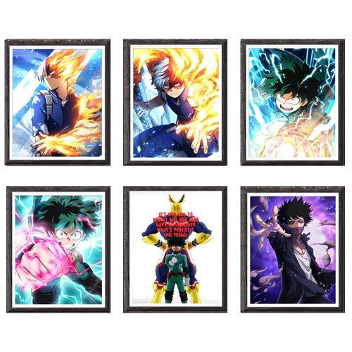 Stampe artistiche su tela, decorazione per la casa, motivo: Izuku, Shoto, Onnipotente, Dabi, OFA, My Hero Academia, 20 x 25 cm, senza cornice, set da 6 pezzi