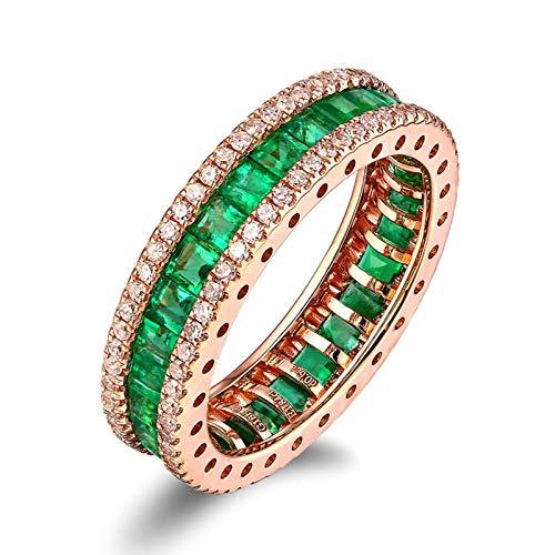 Beydodo Verlobungsring 18 Karat Bandring 1.84ct Quadrat Smaragd Damen Rosegold Ring Trauringe mit Diamant Große 63 (20.1)