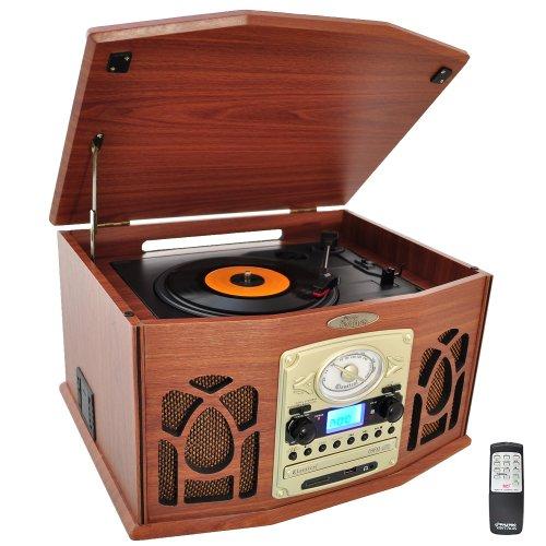 Pyle PTCDS7UIW Tocadiscos retro con CD/MP3/Casette/Radio/USB/SD, Aux-In y vinilo a MP3 Encoding (Wood Finish)