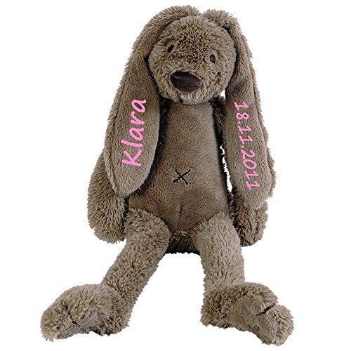 Elefantasie Stofftier Hase mit Namen und Geburtsdatum personalisiert Geschenk 40cm braun Aufdruck rosa