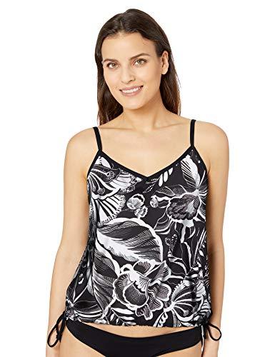 24th & Ocean Women's Side Tie Tankini Swimsuit Top, Black//Tropical Paradise, XX-Large