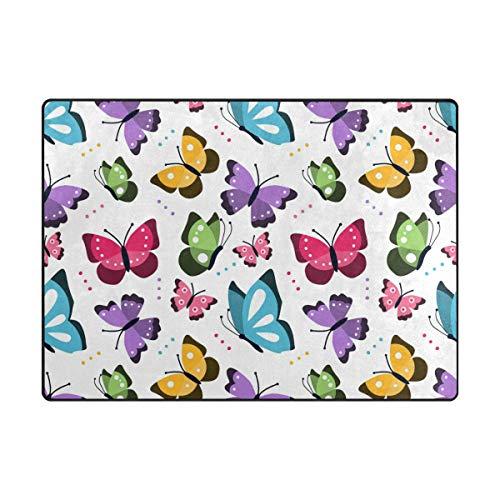MALPLENA Tapis de Sol antidérapant Motif Papillons, Polyester, 1, 80 x 58 inch