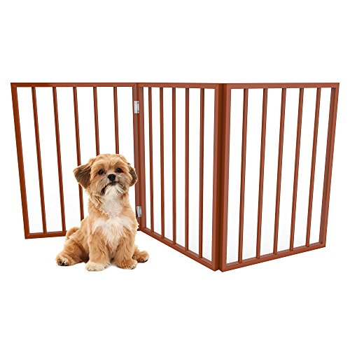 """PETMAKER Foldable, Free-Standing Wooden Pet Gate- Light Weight, Indoor Barrier for Small Dogs/Cats by Light Brown, 24 Inch Step Over Doorway Fence, 54 x24"""" (80-62875-M)"""