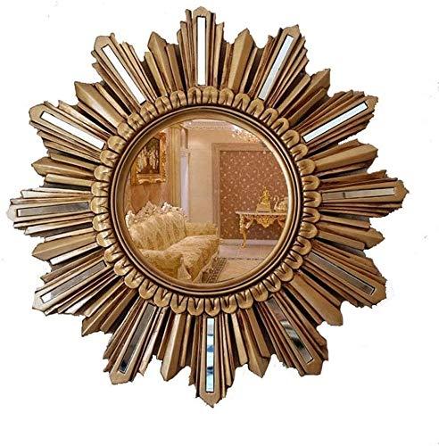 GAOTTINGSD Espejo Maquillaje Espejo de Pared Retro Europea Porche Sala de Estar decoración de la Pared de Espejo (Color : Ancient Gold)