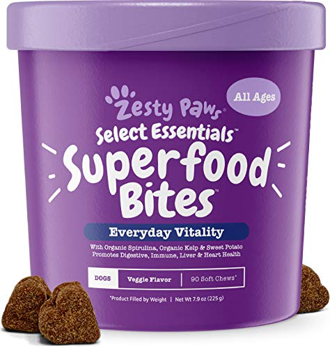 Superfood Chewable Treats for Dogs - Grain Free Fruit & Veggies Dog Supplement - Spirulina, Pumpkin, Coconut Oil & Kelp - Vitamins, Antioxidants & Omega 3 6 9 - Digestive & Immune Support - 90 Count