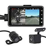 Sifeier Motorcycle Dash Cam Motorbike Recorder Waterproof Dual Lens Video Recorder Motorbike Recording Camera Display 3.0'' LCD Split Screen Front Rear Recorder Dual-track