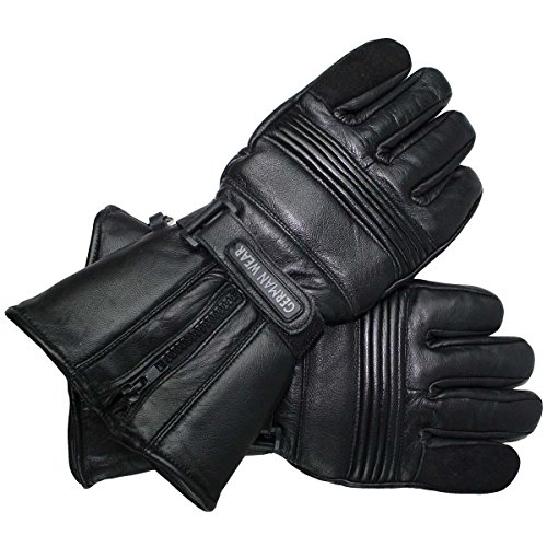 German Wear Herren Winter Motorradhandschuhe Winterhandschuhe Lederhandschuhe, Größe:11=XXL