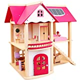 SBRTL Puppenhaus Holz Puppenhaus Kinder Villa Spielhaus Spielzeug Montage DIY Simulation Rosa Villa...