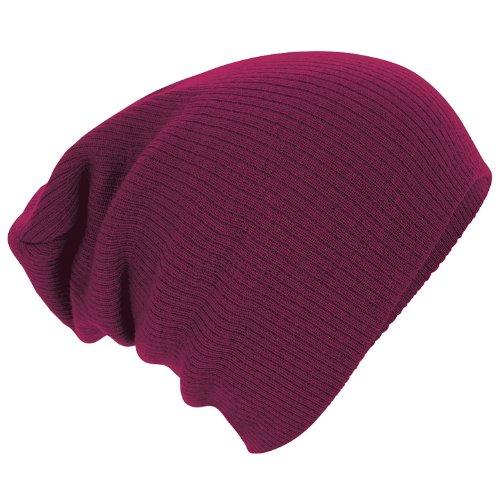 Beechfield Slouch Beanie Bonnet en tricot, Rouge (grenat), Taille unique