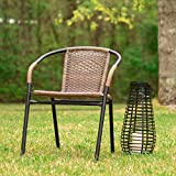 Flash Furniture 4 Pk. Medium Brown Rattan Indoor-Outdoor Restaurant Stack Chair