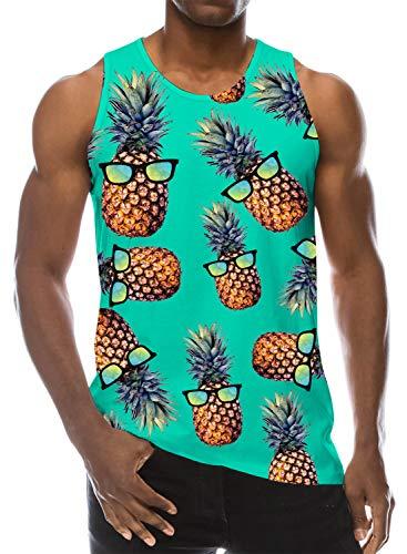 Loveternal Herren Ananas Sleeveless T-Shirt 3D Gedruckt Tank Top Casual Sommer Ärmelloses T-stücke L