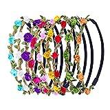 9 Pezzi Multicolore Fasce Corona di Fiori Ghirlanda con Nastro Elastico Regolabile...