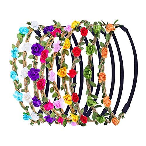 9 Pezzi Multicolore Fasce Corona di Fiori Ghirlanda con Nastro Elastico Regolabile