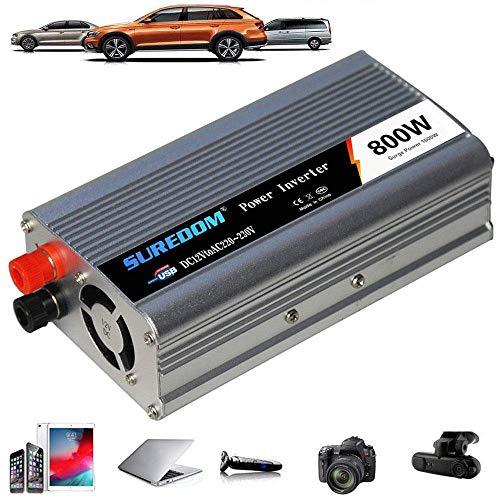 YVX Inversor de Corriente de 800W DC 12V / 24V a 110V 220V 230V 240V, Inversor de Corriente con Cargador, Adaptador de Encendedor, convertidor con tomacorrientes universales y Puertos de Carga U