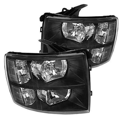 Spec-D Tuning Black Headlights for 2007-2013 Chevy Silverado 1500 2500HD 3500HD Pickup Head Light Assembly Left + Right Pair