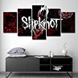 Donpeer 5 Teilig auf Leinwand Bilder Slipknot 150x80cm Vlies Leinwandbild 5 Teilig Wandbild Kunstdruck auf Leinwand Modern für Wohnzimmer Schlafzimmer Küche Deko Geschenk Fertig zum Aufhängen