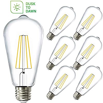 Sunco Lighting 6 Pack ST64 LED Bulb, Dusk-to-Dawn, 7W=60W, 3000K Warm White, Vintage Edison Filament Bulb, 800 LM, E26 Base, Outdoor Decorative String Light - UL, Energy Star