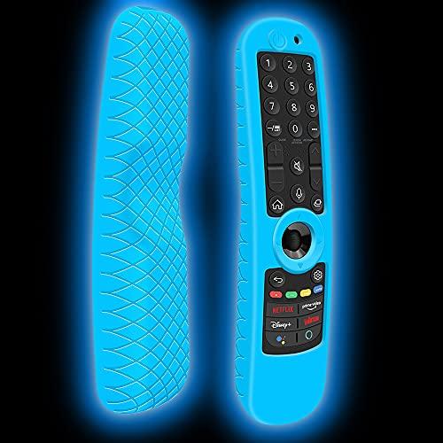 Custodia in Silicone Compatibile con LG Telecomando AN-MR21GA AN-MR21GC OLED QNED TV Magico Telecomando Guscio Protettiva Cover Cassa Copertura per LG 2021 Magic Remote Control (Blu Fluorescente)