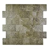 Yipscazo Peel and Stick Tile Backsplash, PVC Persia Grey Backsplash Stone Tile for Kitchen Peel and Stick (12' X 12', 5 Sheets)