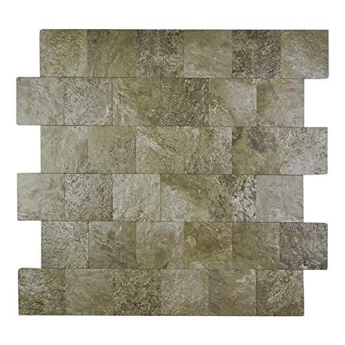 Yipscazo Peel and Stick Tile Backsplash, PVC Persia Grey Backsplash Stone Tile for Kitchen Peel and Stick (12