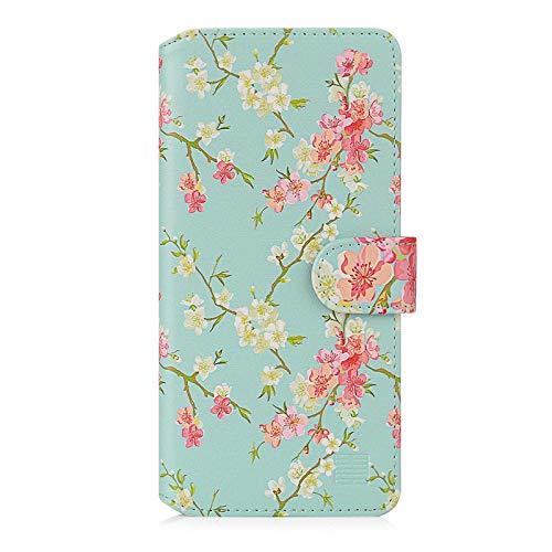Preisvergleich Produktbild 32nd Blumen Series 2.0 - PU Leder-Mappen-Hülle Case Cover für Xiaomi Redmi Note 9 Pro,  Redmi Note 9 Pro Max & Redmi Note 9S,  Mit Kartensteckplatz und Magnetverschluss - Frühlings-Blau